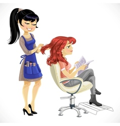 Barber combing cute client girl vector