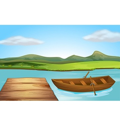 Boat and river vector image vector image