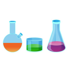 Chemical flasks of different shape isolated vector