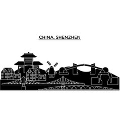 china shenzhen architecture urban skyline with vector image