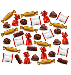 chocolates and candy realistic pattern vector image