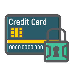 Credit card with padlock colorful line icon vector