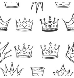 Crown hand draw sketch pattern vector