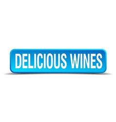 delicious wines blue 3d realistic square isolated vector image vector image