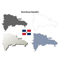 Dominican Republic outline map set vector image vector image