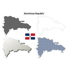 Dominican republic outline map set vector