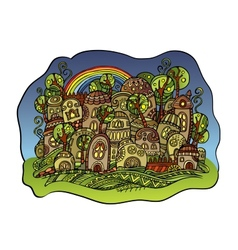 fairy-tale drawing town vector image vector image