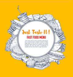 Fast food poster of sketch fastfood vector