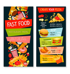 Fast food restaurant template menu vector