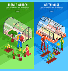 Greenhouse vertical banner set vector