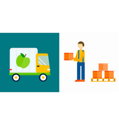 import export fruits truck vector image