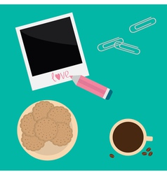 Instant photo paperclips pencil biscuit cookie vector