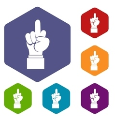 Middle finger hand sign icons set vector image vector image