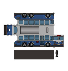 paper model of a vintage large bus vector image vector image