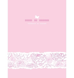 Pink line art flowers vertical card seamless vector image vector image