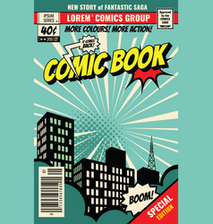 Retro magazine cover vintage comic book vector