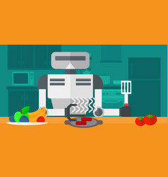 Robot housewife preparing breakfast at kitchen vector