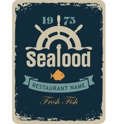seafood restaurant with a ship helm vector image