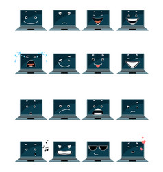 sixteen laptop emojis vector image