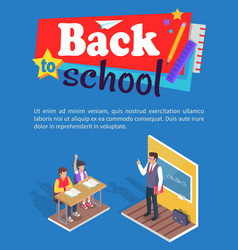 Students boy and girl sit at desk teacher stand vector