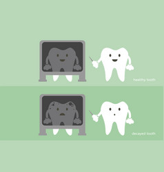 Tooth dentist x-ray healthy and unhealthy teeth vector