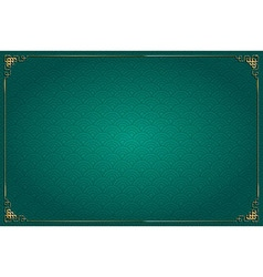 turquoise chinese background and gold decoration vector image