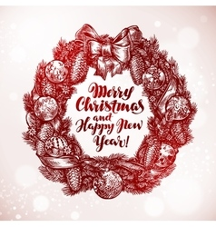 Merry christmas and happy new year xmas wreath vector