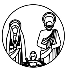 Circular contour sacred family with baby jesus vector