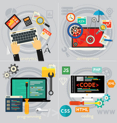programming development analytics and coding vector image