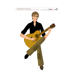 Close-up of man holding guitar vector