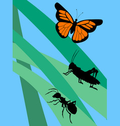 Insects in grass vector
