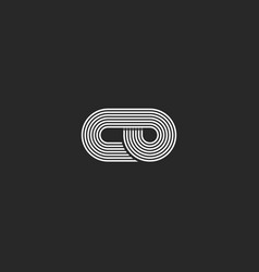 letters co logo hipster monogram parallel lines vector image