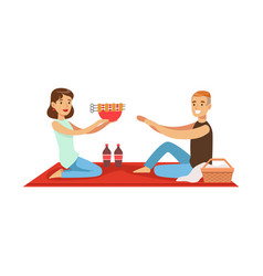 Happy couple having outdoor barbeque picnic man vector