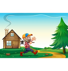 A happy lumberjack carrying an axe while walking vector image