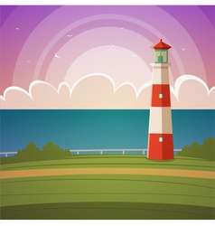 Cartoon lighthouse vector