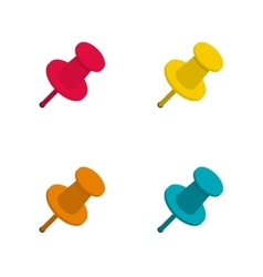 Set of colorful office push pins vector