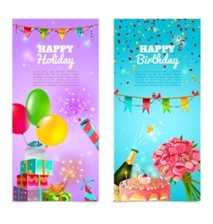 Happy birthday holiday celebrration banners set vector