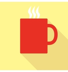 Red mug with hot drink vector