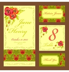 Poppy flower wedding card set vintage vector