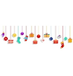 Hanging gift boxes socks and christmas balls vector