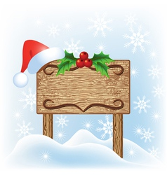 Christmas wooden signboard vector