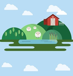Farm animals countryside view vector