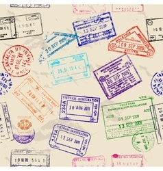 Seamless texture with real visa stamps vector image