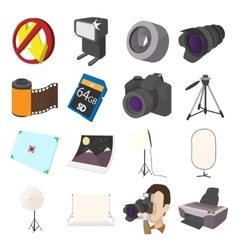 Photography set icons cartoon style vector