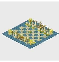 Blue stylized chess with grass and marine figures vector