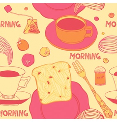 Breakfast with hot toasts tomatoes and tea vector image