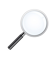 Realistic loupe magnifying glass with black handle vector
