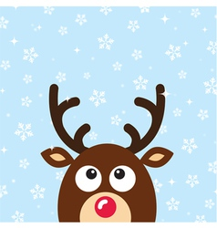 Reindeer Christmas Card snow background vector image