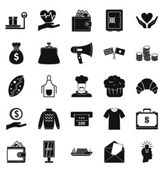 Alms icons set simple style vector