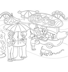 Amusement park coloring pages for children hot vector